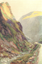 Honister Pass-Dawn, Lake district. Cumbria. By Ernest Haslehust,  print 1920
